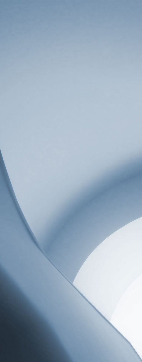 An abstract image of soft curved blue shapes